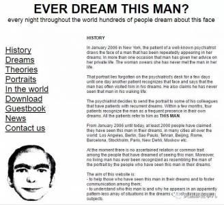 全球超過2000人都曾夢見過同一個男人,但,沒人知道他是誰…