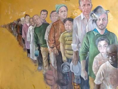 一位敘利亞藝術家,將各國領導人繪製成難民,喚起更多人對戰爭的反思...