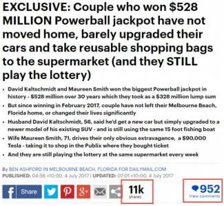一對夫妻買彩票中了30個億,5個月後,他們的生活照被曝光,震驚世界……