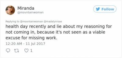 因為精神健康問題她請了兩天病假,結果受到了老闆的表揚…網友:還有這種操作...