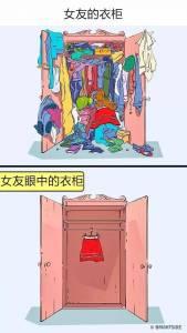 11張男朋友與女朋友眼中跟想像的世界不一樣, 4男人永遠不懂女人的衣櫃