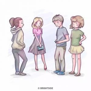 原來...看腳的方向,就知道男生喜歡哪個女生