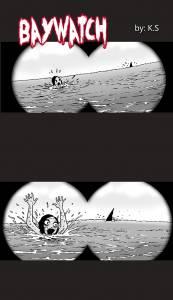 救生員發現美女被鯊魚追殺,奮不顧身的跳下水拯救她,救上來後才驚覺「應該要讓她被鯊魚吃掉的」…