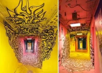 100個塗鴉藝術家用三個星期把學生宿舍變了一個樣,出來的效果簡直驚呆...