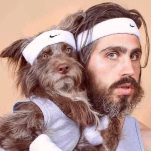 發現狗狗和自己越長越像,於是他們拍了一組照片,帥爆了!