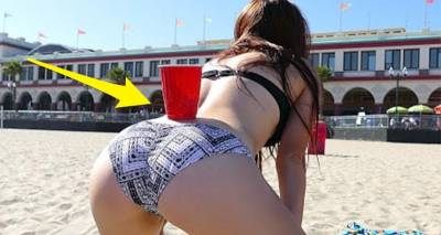 巨乳正妹「把杯子放在屁溝上」民眾都覺得超怪,沒想到「她下一秒的動作」讓海鷗嚇飛 男人吹哨