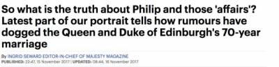 女王和親王即將70週年結婚紀念,然鵝英國媒體轉身八卦起了親王當年出軌的種種證據...
