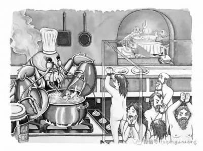 「當人肉被從超市買回來食用烹煮」,美國女畫家繪製的人與動物互換的世界,讓人不寒而慄…
