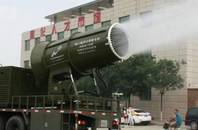 張家口治霾神奇大砲上場能噴射百米水霧達到去塵效果