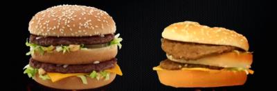 速食店廣告漢堡與實際漢堡的差別