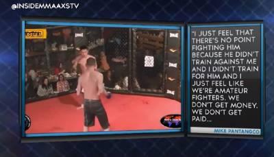 最近一場業餘自由搏擊比賽上讓所有人吃驚的一幕…