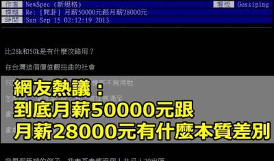 【熱議】網友:到底月薪50000元跟月薪28000元有什麼本質差別