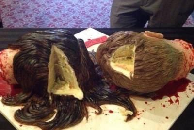 觸目驚心!美女子製作頭顱蛋糕 嚇死人不償命!