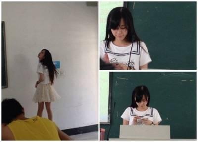 這樣的短裙,這樣的清純外貌,英語課同學們有福了!