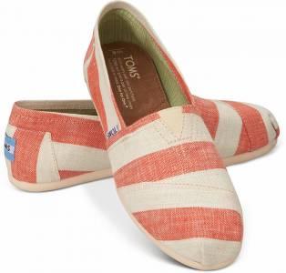 TOMS 海軍風不規則橫條女鞋