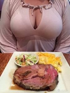 奶大真好! 大胸部加上美食~