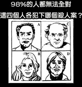 推理 四個兇手都殺了人,他們各是哪個案子的嫌犯??98 的人都無法全對~