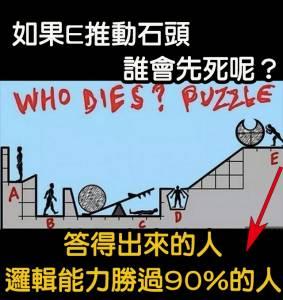 邏輯測驗!! 若e推動石頭誰會先被砸呢?解得出來的人能力勝過90 人