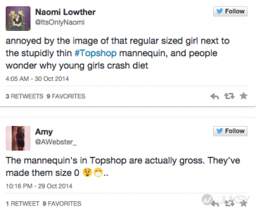 Topshop展示用假人「鳥仔腳」 網友痛批助長「過瘦審美觀」