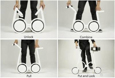 可以收進後背包中的電動單車