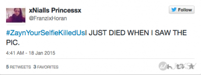One Direction 成員 Zayn Malik 在Twitter 上公佈了新髮型照後 女歌迷用「#殺了我吧」分享了他的自拍照