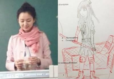這老師太可愛了!學生考卷上亂畫的塗鴉用紅筆幫忙補完!