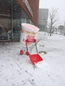 日北大雪 杯麵博物館居然這樣剷雪?!