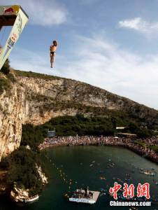 希腊雅典舉行世界懸崖跳水大賽