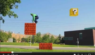 真人版馬利歐兄弟玩跑酷 逼真有趣