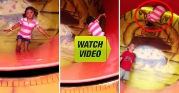 爆笑有趣 三歲女童單手抓住遊樂園措施,讓一旁的男童看傻眼